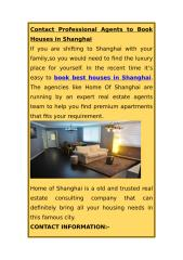 Contact Professional Agents to Book Houses in Shanghai.docx