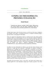 BESANT, Annie - O Papel da Teosofia na Próxima Civilização.doc